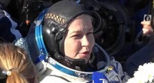 Russian film crew back to Earth from ISS